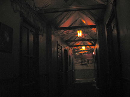 This chilling hallway was a ghostly gathering place in The Fright Gallery's EXPERIMENTS IN TERROR. Burbank, California - October 2003