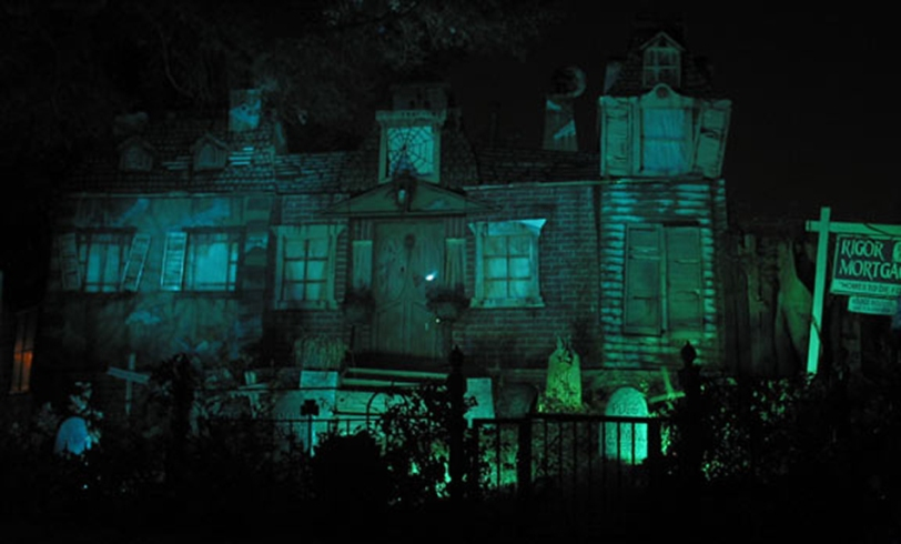 The exterior set of Hazelwood Manor, a mansion facade that opened up to reveal a live Halloween stage show inside. Burbank, California - October 2002