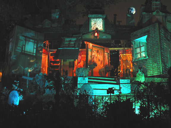 The two-story facade of Hazelwood Manor opens to reveal its haunted interior during a live Fright Gallery stage show. Burbank, California - October 2002