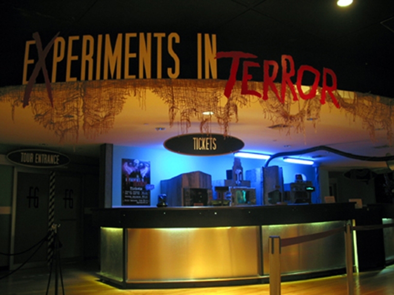 Entrance lobby for The Fright Gallery's EXPERIMENTS IN TERROR, an interactive haunted attraction that transported guests into the spiritual realm of the dead. Burbank, California - October 2003
