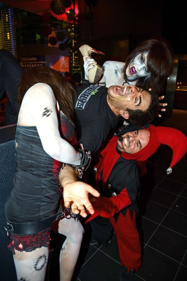 Eli Roth is smothered by his own zombies and haunt maniacs at the grand opening of the GORETORIUM.