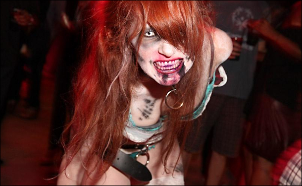 One of the hungry go-go dancer zombies awaiting you at Eli Roth's GORETORIUM.