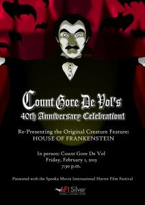 Count Gore De Vol celebrates his 40th anniversary as horror host on February 1st.