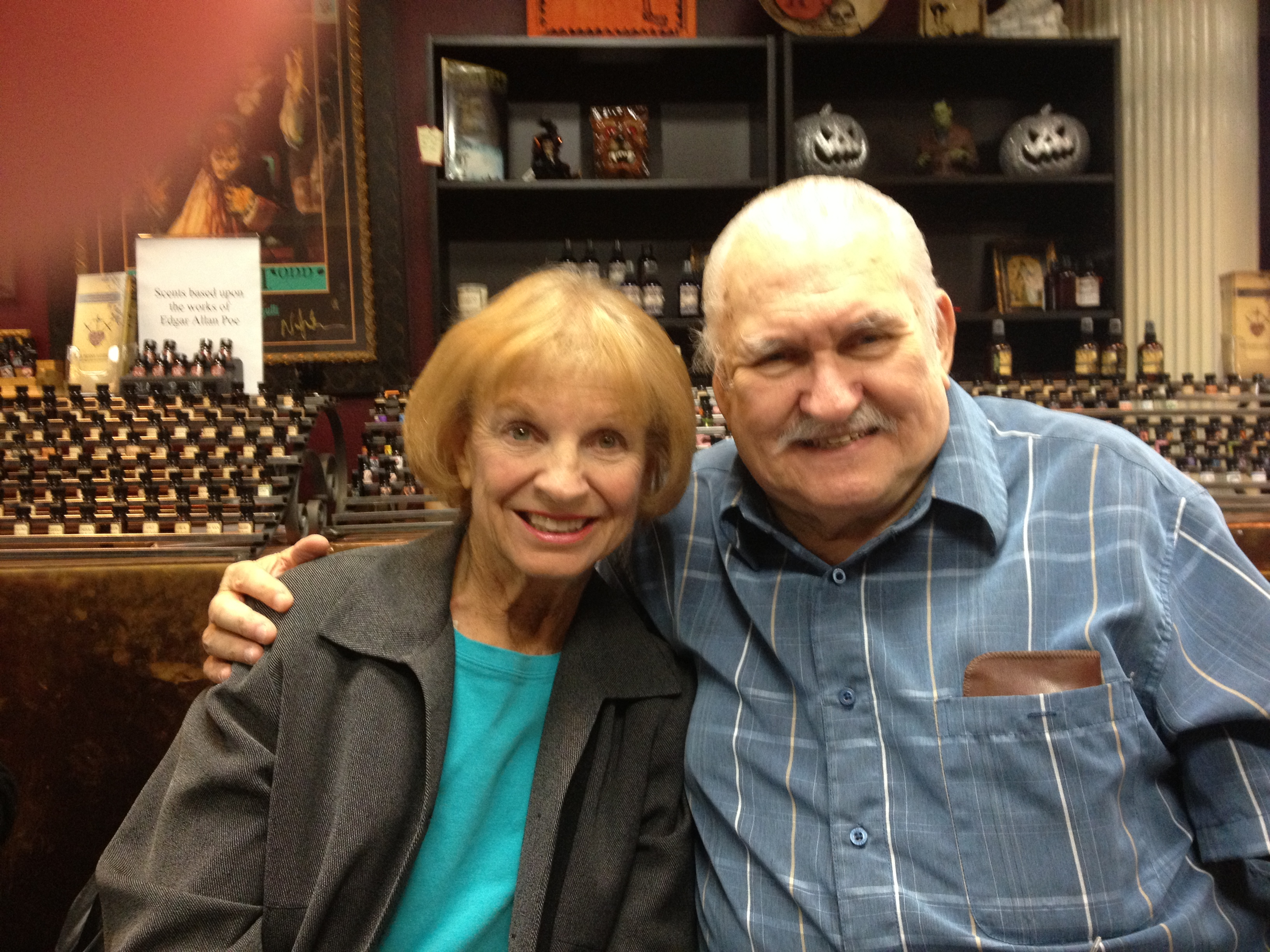 Kathy and Bob Burns at the BEAST WISHES/MEN IN SUITS DVD signing event at Dark Delicacies, Burbank, California on January 6, 2013.