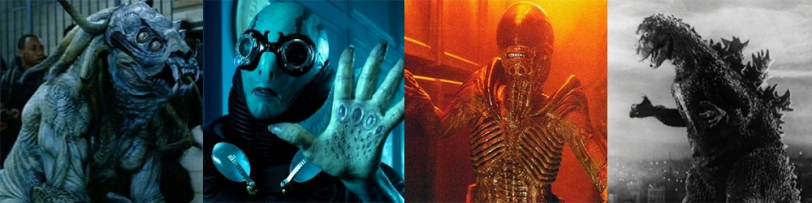 From left to right: Brian Steele as Sammael in HELLBOY, Doug Jones as Abe Sapien in HELLBOY, Tom Woodruff Jr. in ALIEN 3 and Haruo Nakajima in GODZILLA