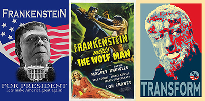 Satirical campaign posters surround the classic Frankenstein Meets the Wolf Man movie poster