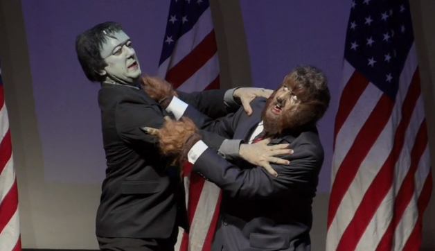 Frankenstein (Perry Shields) faces off with the Wolf Man (Daniel Roebuck) in a monstrous Presidential Debate at the Alex Theater in Glendale, CA. October 2012. Photo c. Daniel Roebuck