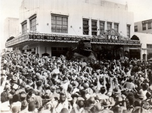 A giant bust of the film's star is mobbed by fans at the May 1933 run of KING KONG at the Pomona Fox theater.