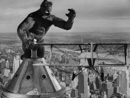 The mighty ape's final and tragic stand atop the Empire State Building in KING KONG.