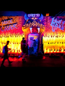 Guest entrance to the Alice Cooper Goes to Hell 3D maze at Universal Hollywood's Halloween Horror Nights in 2012.