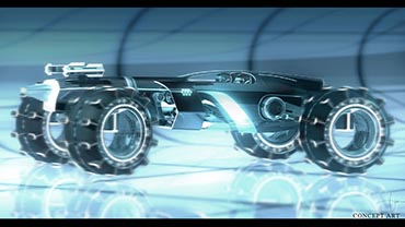TRON LEGACY concept art for the LightRunner, a car-style passenger vehicle with off-grid racing ability. Might this higher-capacity vehicle design facilitate a TRON ride in Tomorrowland? Photo c. Disney. All rights reserved.
