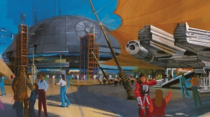 Tim Delaney concept art for a proposed STAR WARS land in Disney theme parks.