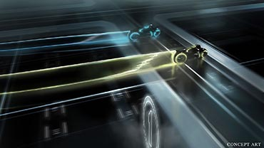 TRON LEGACY concept art showing the next-gen LightCycle designs for the feature film. Could a similar racing vehicle ride rez up in Tomorrowland soon?  Photo c. Disney. All rights reserved.