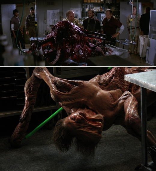 Practical creature effects comparison between THE THING (1982) at top with ADI's creation for THE THING (2011).