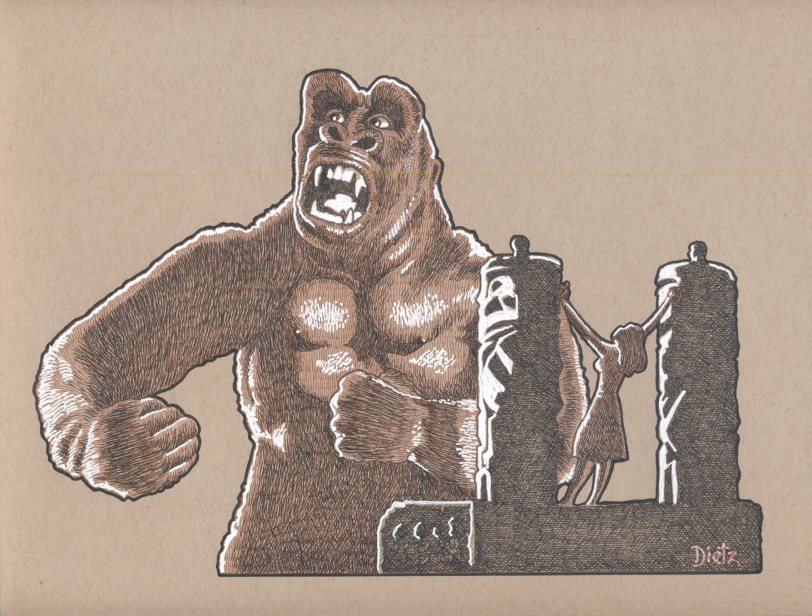 Original artwork of Kong meeting Ann Darrow on Skull Island. © Frank Dietz. All Rights Reserved.